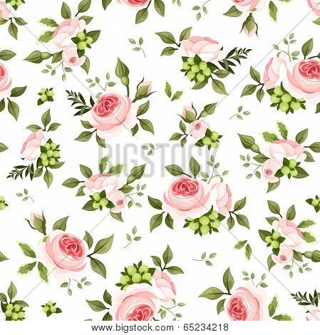 Seamless pattern with pink roses and green leaves. Vector illustration.