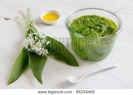 Pesto With Wild Garlic In A Jar