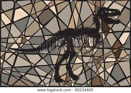 Editable vector mosaic illustration of the skeleton of a Tyrannosaurus rex dinosaur suggesting a fossil
