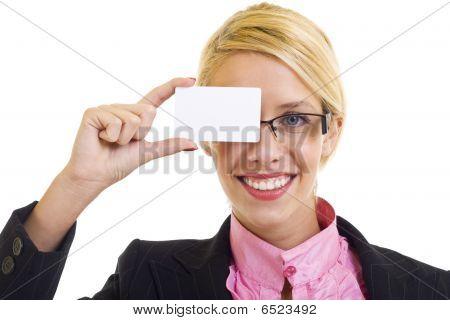 geschäftsfrau mit Visitenkarten