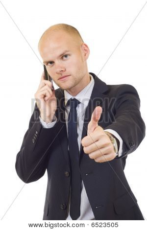 Businessman On The Phone And Thumbs Up