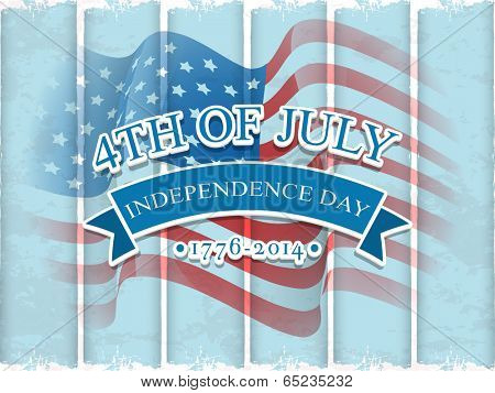 Vintage poster, banner or flyer design stylish text 4th of July on American Flag waving background for Independence Day celebration.