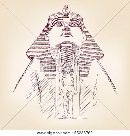 Tutankhamun Egyptian Pharaoh  vector llustration