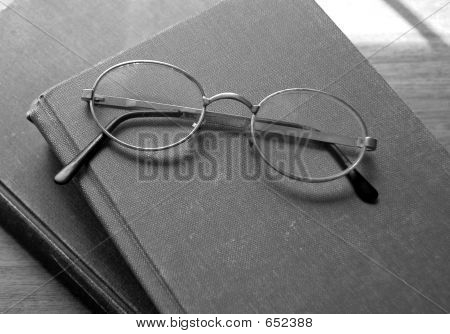 Old Reading Glasses And Books