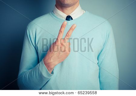 Man Displaying Rude Gesture
