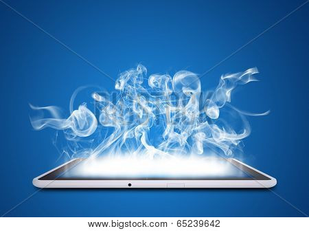 Tablet pc emits white smoke