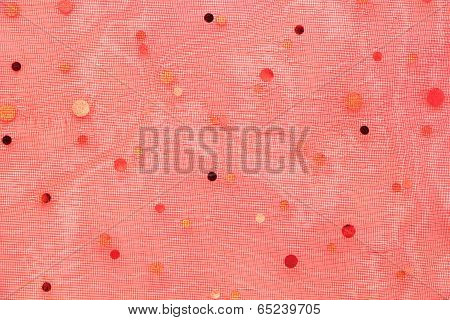 Chiffon Red Dotted Fabric Texture