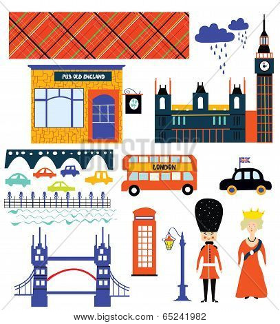 London landmarks and symbol set funny design