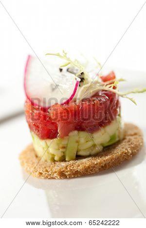 Canape - Tuna and Avocado Tartare with Cream Sauce