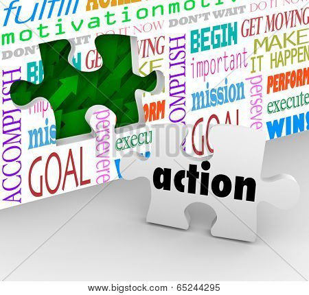 Action final piece puzzle needed complete change, innovation and success