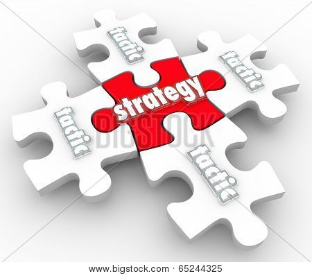 Strategy Tactics word on puzzle piecesplan excecuting implementing