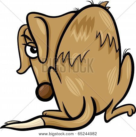 Poor Homeless Dog Cartoon Illustration