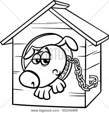 Sad Dog In Kennel Coloring Page