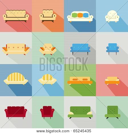 icons of matching sofa and chair