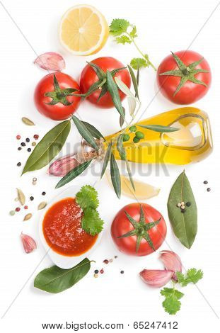 Bowl Of Tomato Sauce With Fresh Ingredients