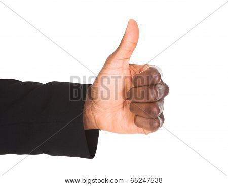 Businessman Hand Showing Thumb Up Sign