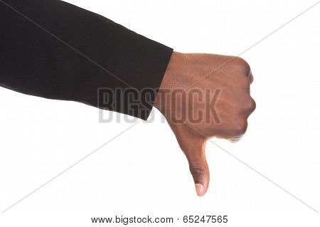 Businessman Hand Showing Thumb Down Sign