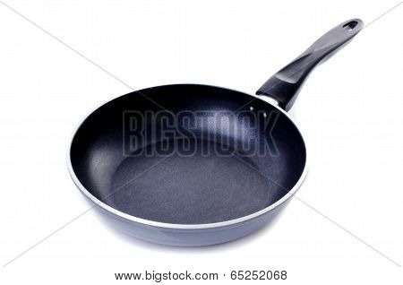 Black Frying Pan On White Background