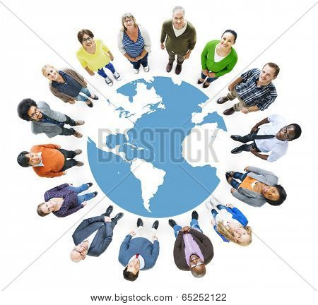 Aerial View of Multiethnic People Forming Circle and Globe