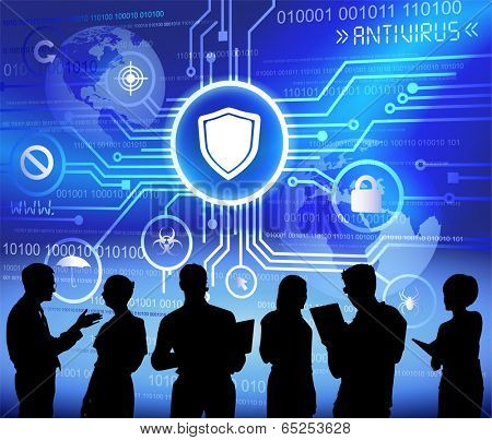 Technology and anti-virus themed background with silhouettes of business people.
