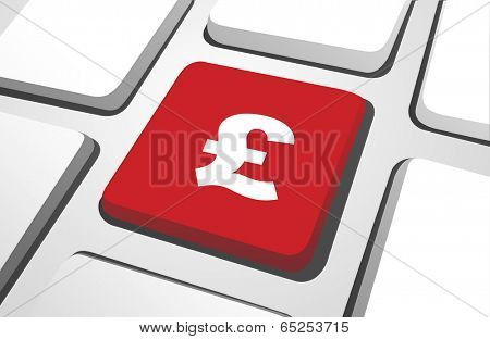 British pound symbol in a red cube with white background.