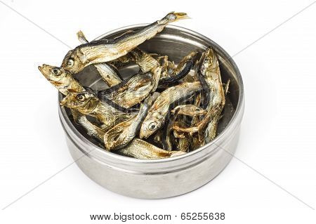 Dried fish and tin can