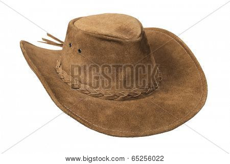 Brown cowboy leather hat isolated over white with clipping path.