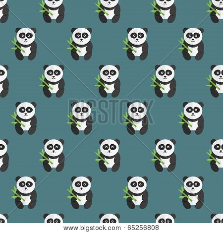 Seamless panda bear pattern.