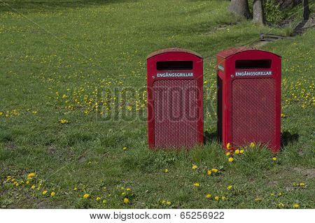 Two Red Garbage Bins For Disposable Bins For Disposable Barbecue Items