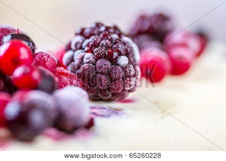 Frozen forest fruits on an ice cream
