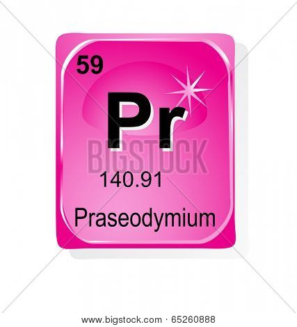 Praseodymium chemical element with atomic number, symbol and weight