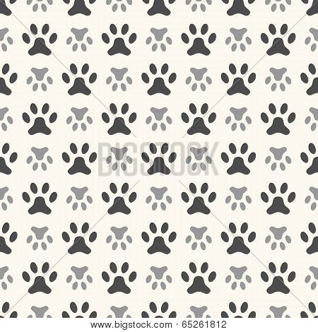 Seamless animal pattern of paw footprint. Endless texture can be