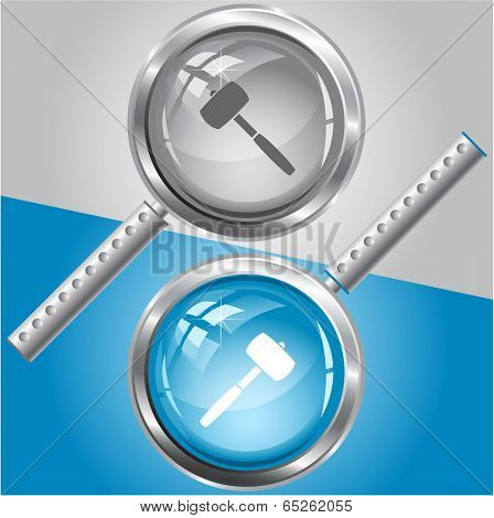 Mallet. Vector magnifying glass.