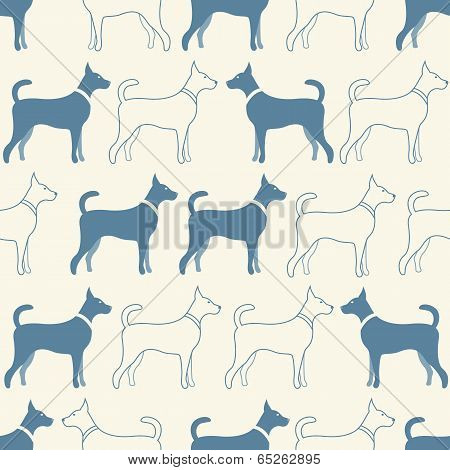 Cute doodle seamless vector pattern of dog silhouettes. Endless