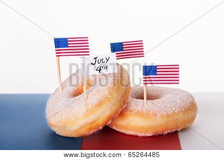 Donuts With Flags And July 4Th