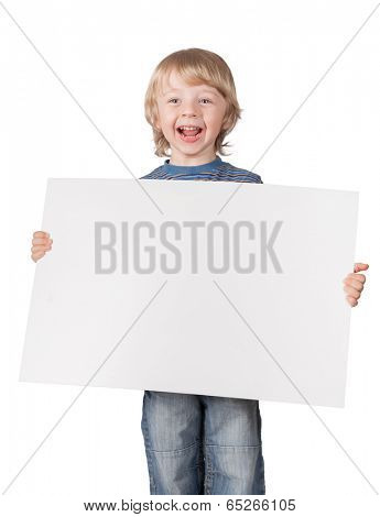 boys showing blank placard board to write it on your own text isolated on white background