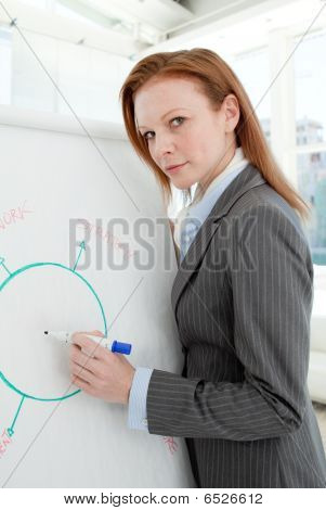 Serious Manager Giving A Presentation To Her Team