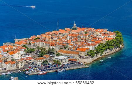 Korcula old town aerial photo