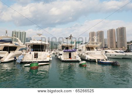 Aberdeen harbor with yachts and ships off the island of Aberdeen, or Ap Lei Chau. Hong Kong.