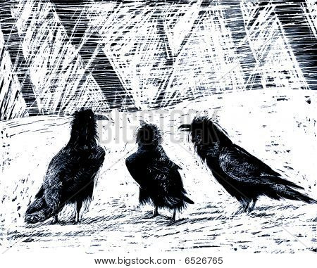 three crows in snow illustration