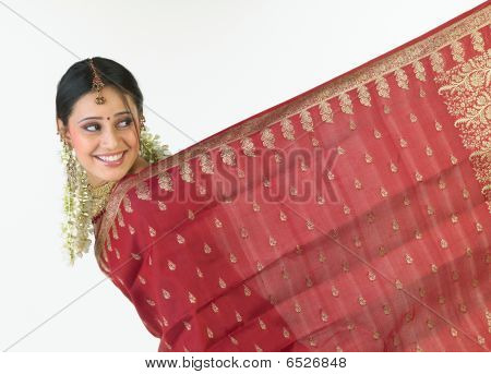 Indian girl showing her sari border