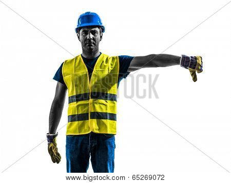 one construction worker signaling with safety vest lower boom silhouette isolated in white background