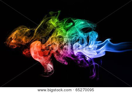 Colorful creative smoke waves on black background. Perfect for design, as graphic element or template background.