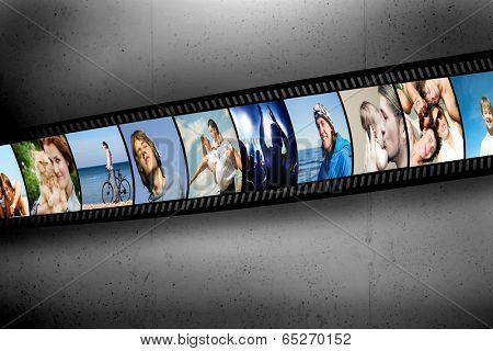 Film strip with colorful, vibrant photographs on grunge wall. People theme. All pictures used are mine