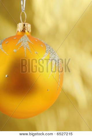 Close-up Photo Of Golden  Christmass Ball