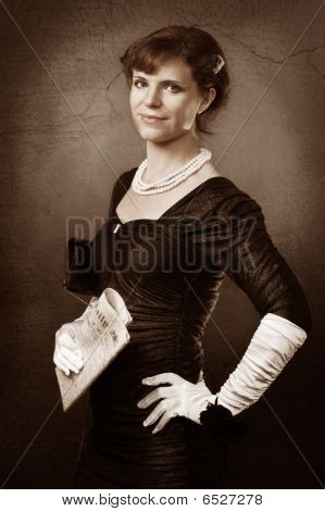 Old Style Portrait Of Woman With Newspaper