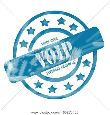 Blue Weathered Voip Stamp Circles And Stars