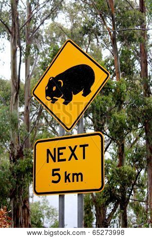 Wombat Road sign