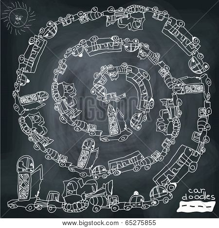 Funny Cartoon Doodle Spiral Composition.child's Hand Draw Cars.