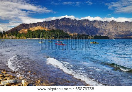 Wakatipu Lake and Ramarkables Mountains, New Zealand